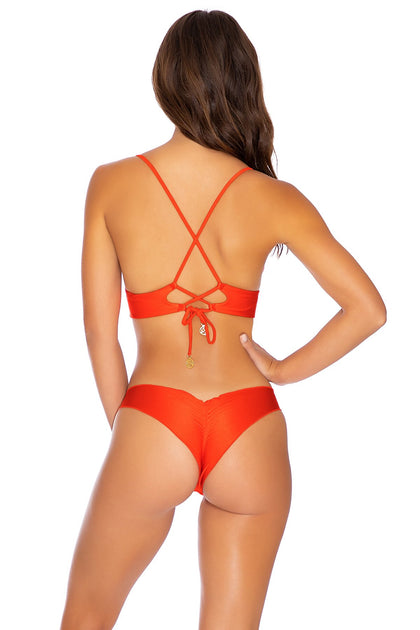 COSITA BUENA - Cross Back Bustier Top & Seamless Wavey Ruched Back Bottom • Sangrita