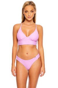 COSITA BUENA - Cross Back Bustier Top & Seamless Wavy Ruched Back Bottom • Lavanda