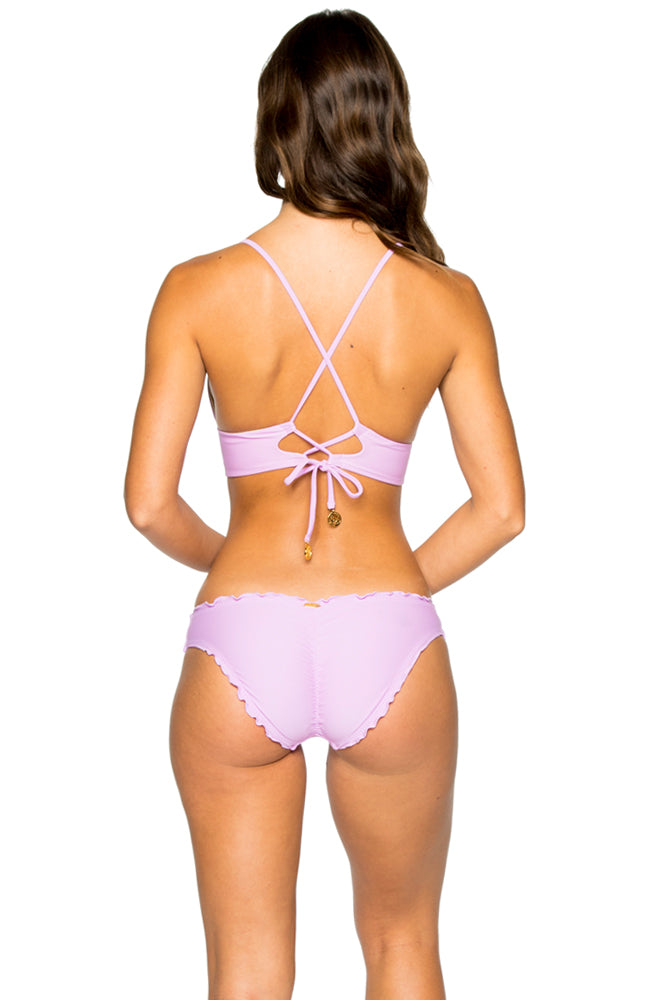 COSITA BUENA - Cross Back Bustier Top & Seamless Ruched Back Full Bottom • Lavanda