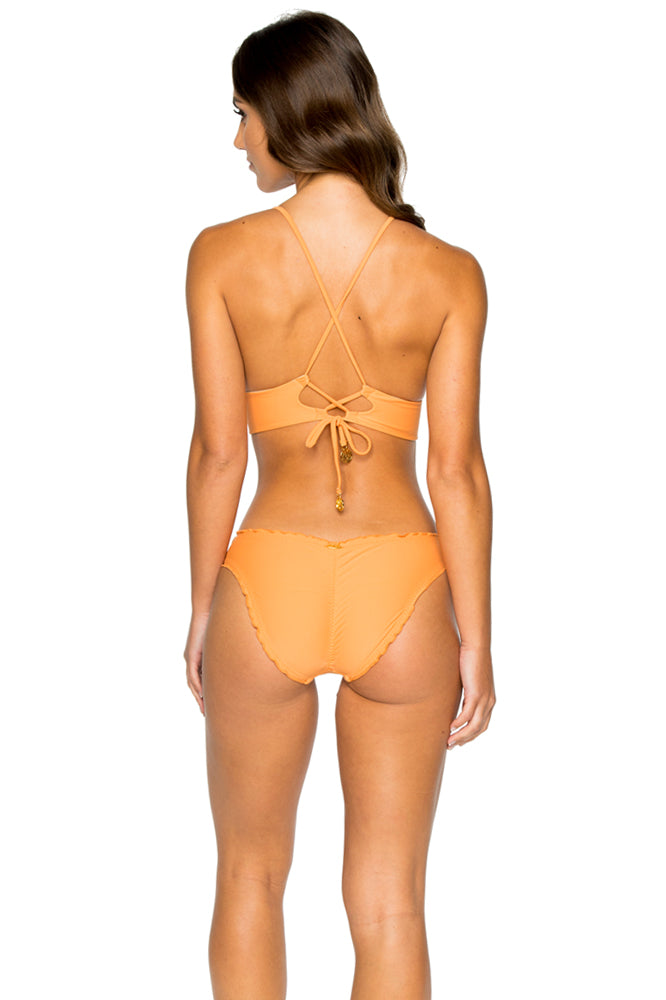 COSITA BUENA - Halter Cross Back Bustier Top & Seamless Ruched Back Full Bottom • Melon