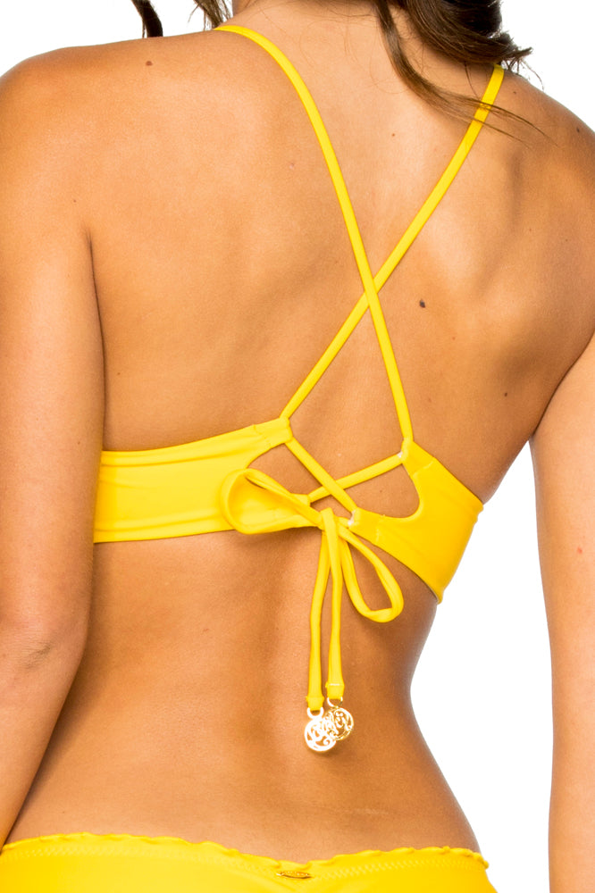COSITA BUENA - Cross Back Bustier Top & Seamless Ruched Back Full Bottom • Limon