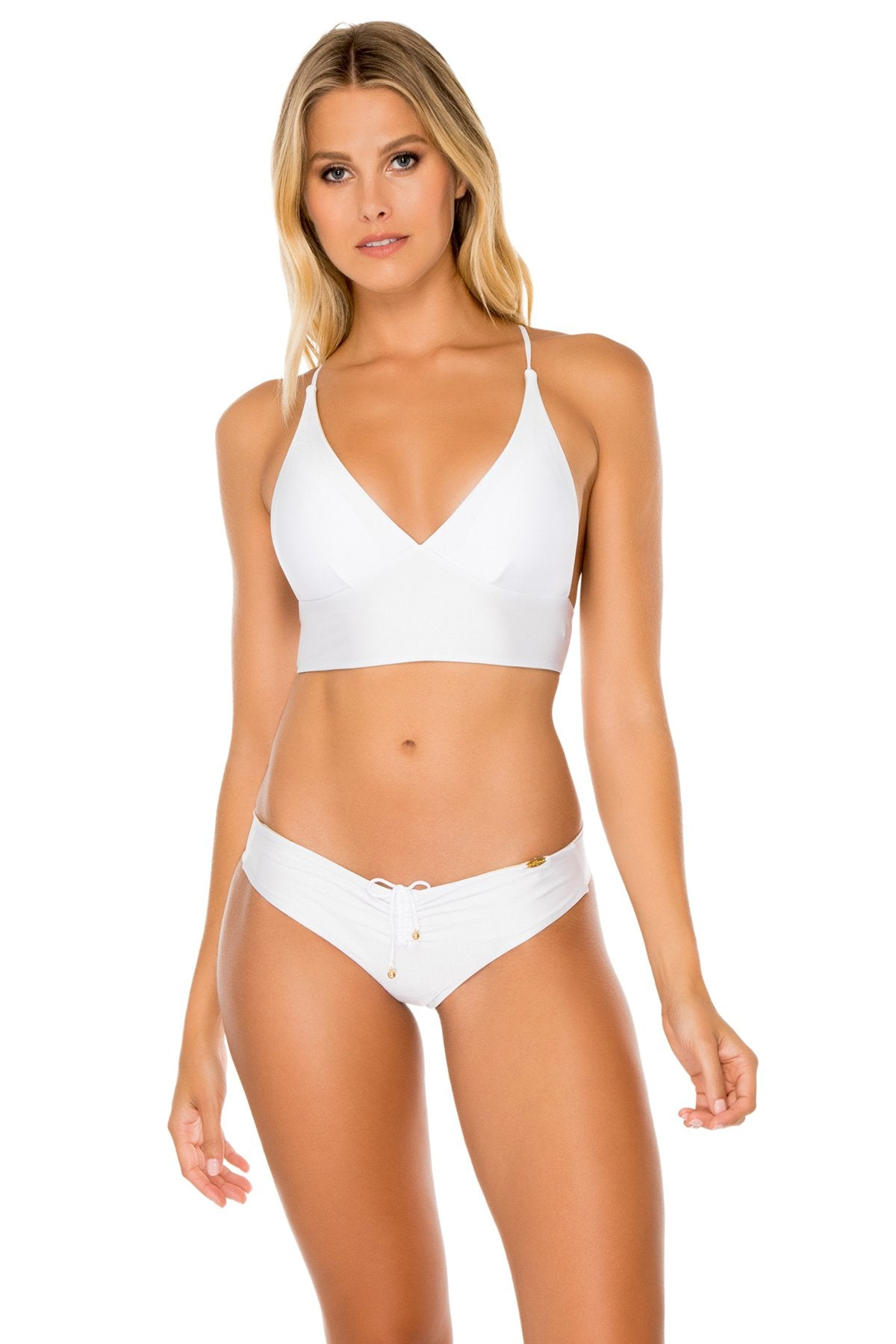 COSITA BUENA - Cross Back Bustier Top & Drawstring Ruched Brazilian Bottom • White