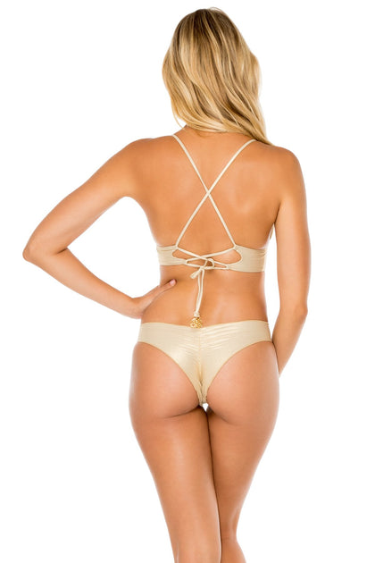 COSITA BUENA - Halter Cross Back Bustier Top & Drawstring Ruched Brazilian Bottom • Gold Rush