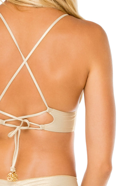 COSITA BUENA - Cross Back Bustier Top & Drawstring Ruched Brazilian Bottom • Gold Rush