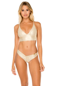 COSITA BUENA - Cross Back Bustier Top & Drawstring Ruched Brazilian Bottom • Gold Rush (1609273868390)