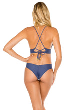 COSITA BUENA - Cross Back Bustier Top & Drawstring Ruched Brazilian Bottom • Azulejos