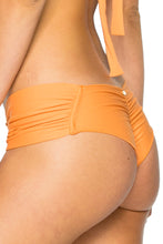 COSITA BUENA - Molded Push Up Bandeau Halter Top & Scrunch Panty Ruched Back • Melon