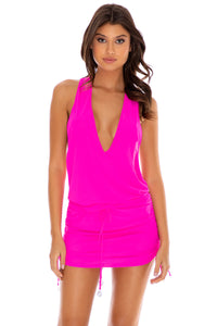 COSITA BUENA - T Back Mini Dress • Poppin Pink
