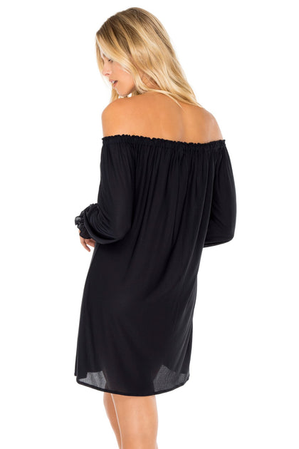 COSITA BUENA - Cuff Bell Sleeve Dress • Black