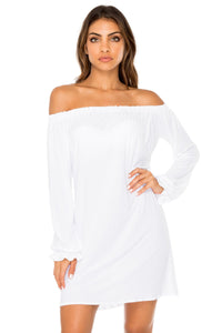 COSITA BUENA - Cuff Bell Sleeve Dress • White