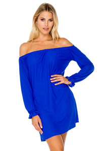 COSITA BUENA - Cuff Bell Sleeve Dress • Electric Blue
