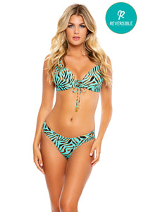 FOREVER WILD - Molded Push Up Bandeau Halter Top & Seamless Wavey Ruched Back Bottom • Aqua