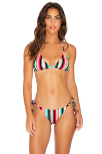GOLDMINE - Triangle Top & Wavey Ruched Back Tie Side Bottom • Multicolor