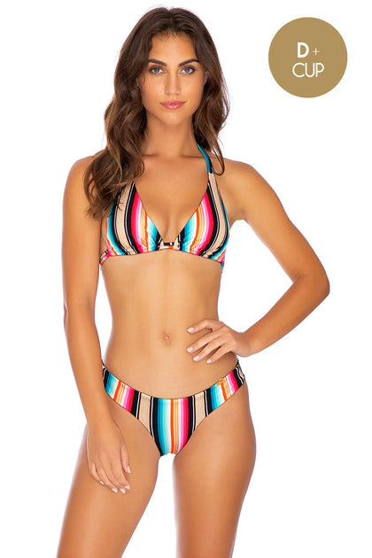 GOLDMINE - Triangle Halter Top & Seamless Wavey Ruched Back Bottom • Multicolor