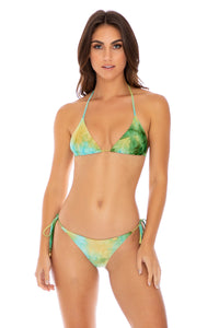 OFF DUTY MERMAID - Triangle Top & Wavey Ruched Back Tie Side Bottom • Multicolor