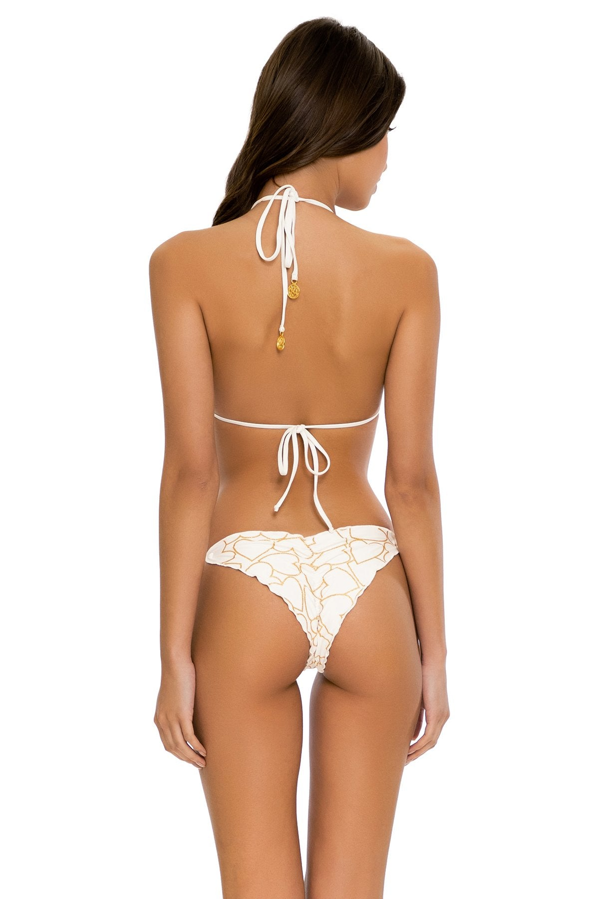 MY LOVE - Triangle Top & Wavey Ruched Back Tie Side Bottom • White