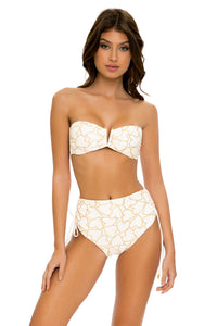 MY LOVE - Gold V Ring Bandeau Top & Hig Waist Bottom • White