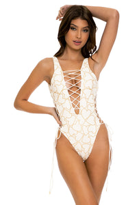 MY LOVE - Open Side One Piece Bodysuit • White