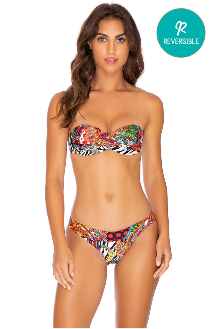 HEARTBREAKER - Underwire Push Up Bandeau Top & Banded Full Bottom • Multicolor