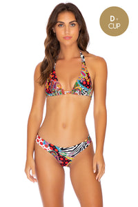 HEARTBREAKER - Triangle Halter Top & Seamless Wavey Ruched Back Bottom • Multicolor