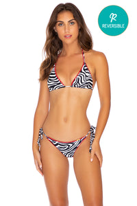 JUNGLE QUEEN - Triangle Top & Wavey Ruched Back Tie Side Bottom • Perla