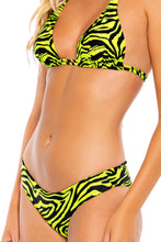 FIERCE CALL - Triangle Halter Top & Seamless Full Ruched Back Bottom • Lime