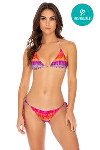 JEWELED - Triangle Top & Wavey Ruched Back Tie Side Bottom • Multicolor