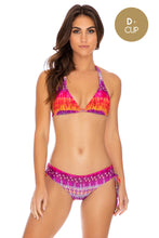 JEWELED - Triangle Halter Top & Drawstring Side Full Bottom • Multicolor