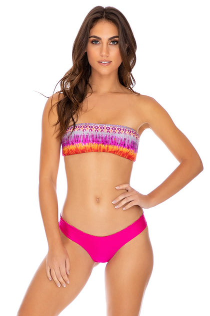 JEWELED - Free Form Bandeau & Seamless Wavey Ruched Back Bottom • Multicolor