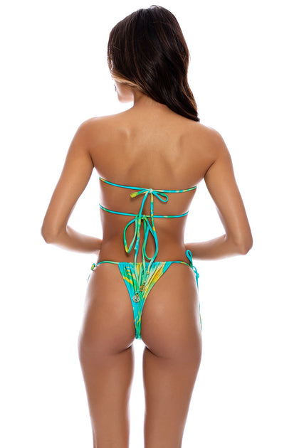 DREAMSCAPE - Multiway Scrunched Cup Bandeau & Seamless String Brazilian Tie Side Bottom • Sea