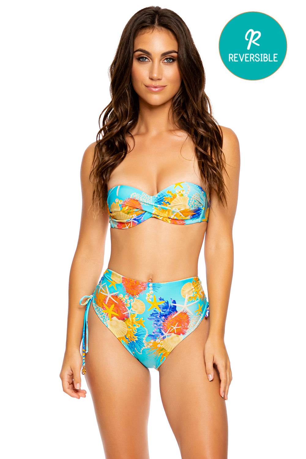 TWISTED MERMAID - Underwire Push Up Bandeau Top & High Waist Bottom • Multicolor