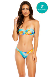 TWISTED MERMAID - Underwire Push Up Bandeau Top & High Leg Brazilian Bottom • Multicolor