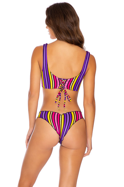 PARTY ANIMAL - Tank Bralette & Seamless Wavey Ruched Back Bottom • Multicolor