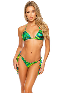 MYSTICAL GARDEN - Wavy Triangle Top & Wavy Ruched Back Tie Side Bottom • Multicolor