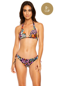 LOVE SPELL - Triangle Halter Top & Wavy Ruched Back Bottom  • Multicolor