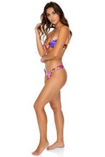 JARDIN SECRETO - Wavey Tie Front Bandeau & Softside Fully Ruched Brazilian • Multicolor