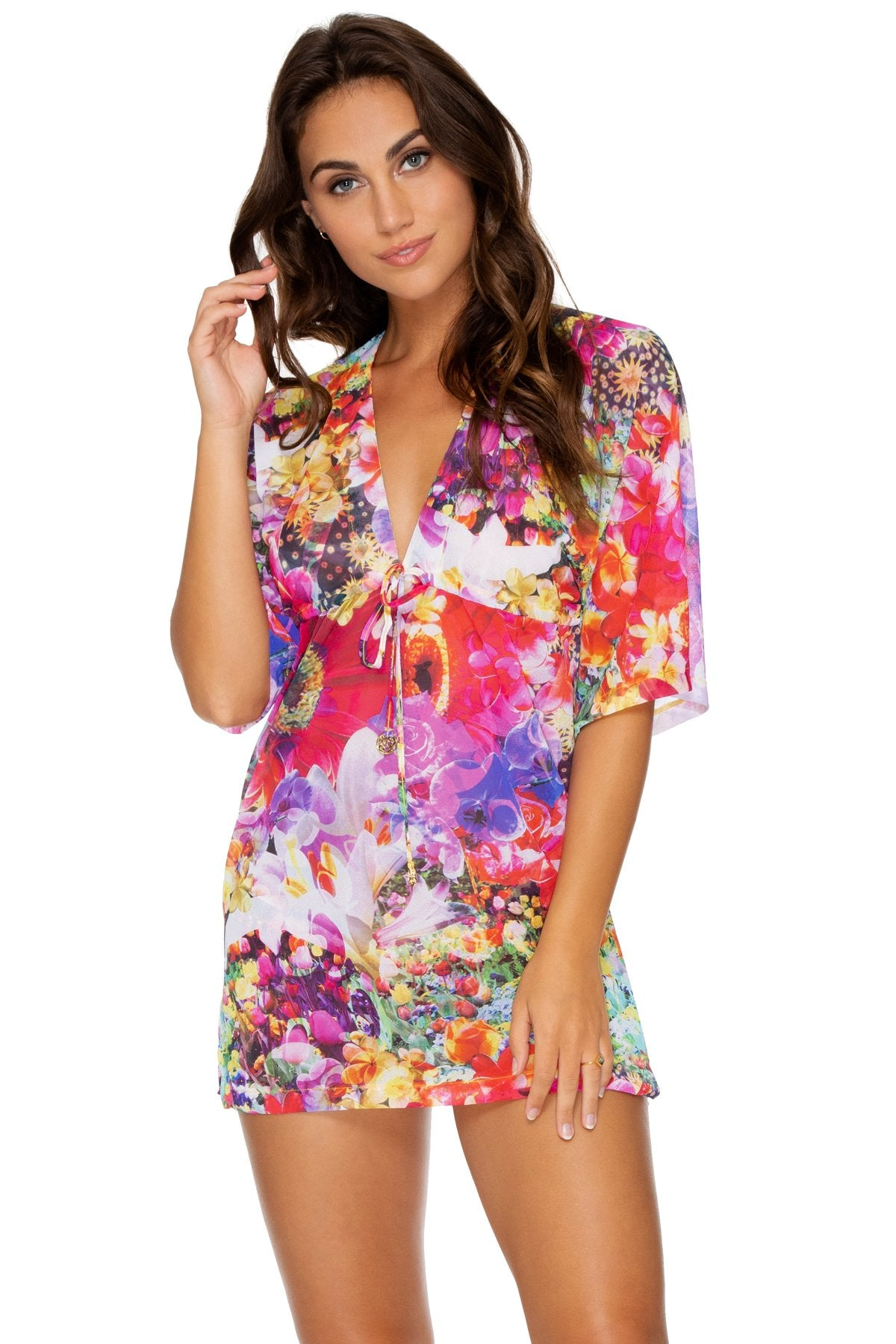 e8be8e17fc Jardin Secreto Bright Floral Short Tunic Cover Up – Luli Fama