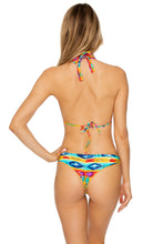 OCHO RIOS - Molded Cup Tri Halter & Softside Fully Ruched Brazilian Back • Multicolor