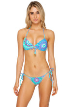 GOTAS DE CRISTAL - Molded Push Up Bandeau Halter & Gathered Abck Tie Side Moderate • Multicolor