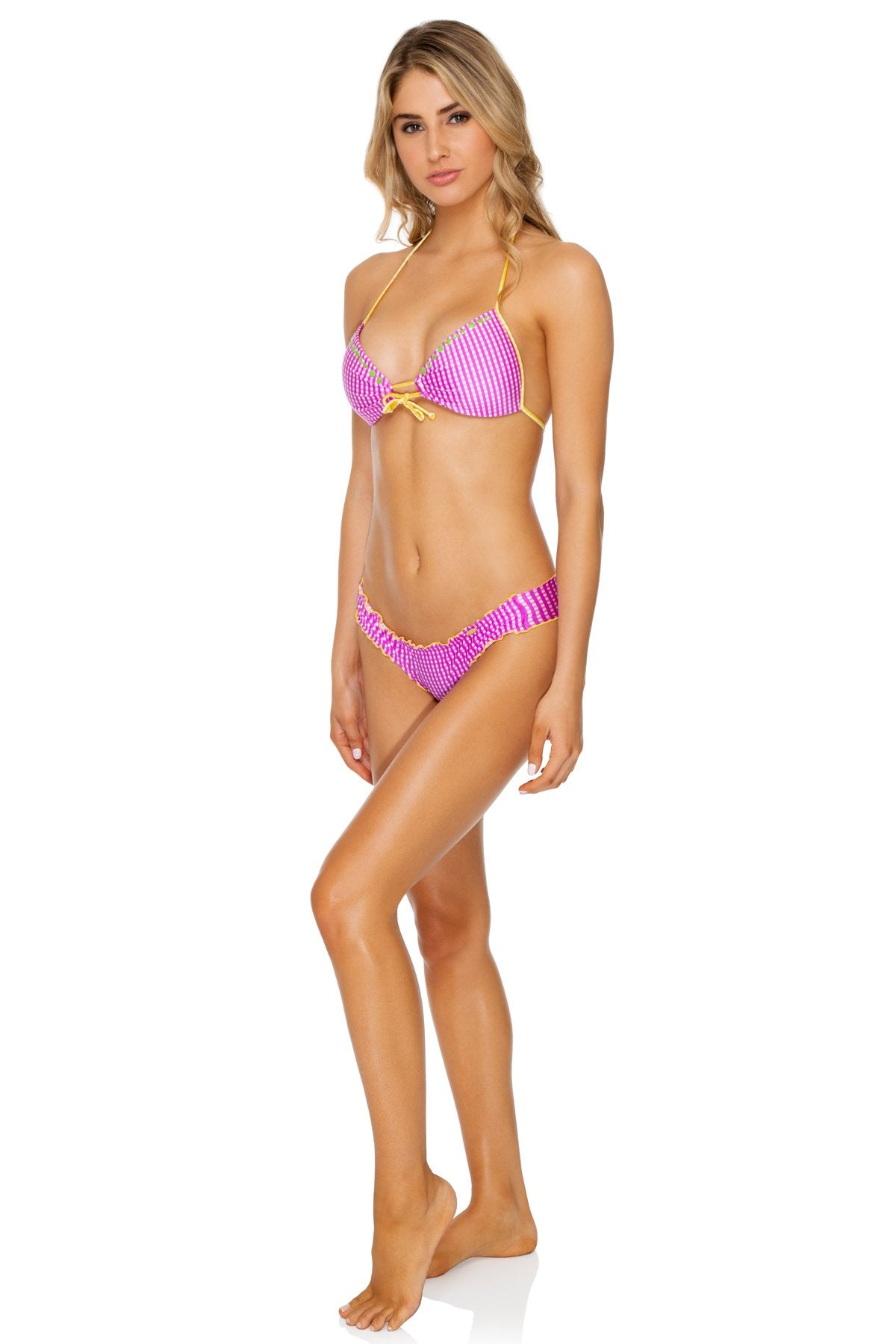 CORAZON LATINO - Molded Push Up Bandeau Halter & Wavey Ruched Back Bottom • Berry