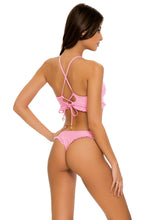 PINK WISHIN - Puckered Ruffle Bralette & Tab Side High Leg Thong Bottom • Pink