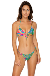 MIAMI MIX - Molded Push Up Bandeau Halter & Wavey Tie Side Brazilian • Multicolor