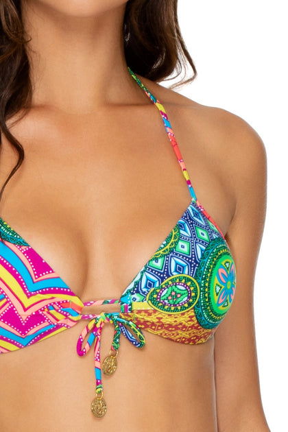 MIAMI MIX - Molded Push Up Bandeau Halter & Gathered Back Tie Side Moderate • Multicolor