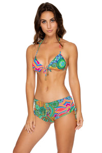 MIAMI MIX - Molded Push Up Bandeau Halter & Adjustable Sides Short • Multicolor