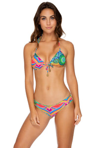 MIAMI MIX - Molded Push Up Bandeau Halter & Full Ruched Back Bottom • Multicolor