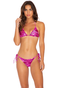 ROCKSTAR - Triangle Top & Wavey Ruched Back Tie Side Bottom • Neon Pink