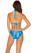 ROCKSTAR - Triangle Halter Top & Seamless Full Ruched Back Bottom • Blue