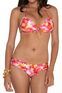 COMPARSITA - Molded Push Up Bandeau Halter & Scrunch Side Full Coverage Btm • Multicolor