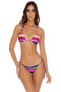 LA ISLA BONITA - Molded Cup Tri-halter & Tie Side Moderate Bottom • Multicolor