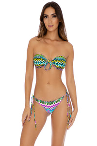 PLAYA ESMERALDA - Wavey Tie Side Front Bandeau & Wavey Brazilian Tie Side Ruched • Aqua